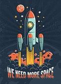 istock Rocket start on the planet Mars 1225439459