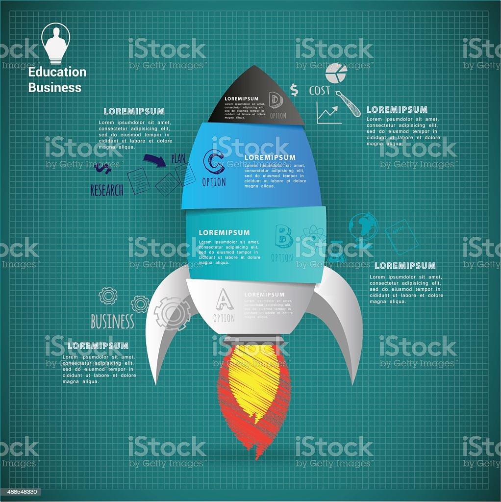 Rocket start up abstract vector infographic. vector art illustration