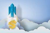 rocket start up dollar bussiness concept idea,paper art style,vector