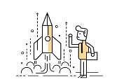 Rocket startup, Businessman control space shuttle.