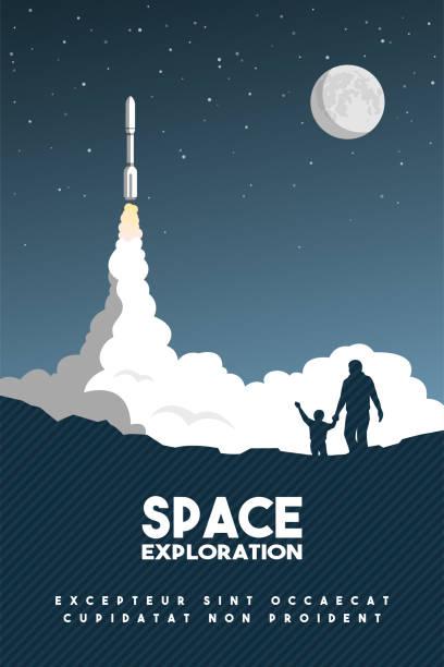 ilustraciones, imágenes clip art, dibujos animados e iconos de stock de despega cohete en el cielo estrellado. cartel de la investigación del espacio. ilustración de vector. - misión