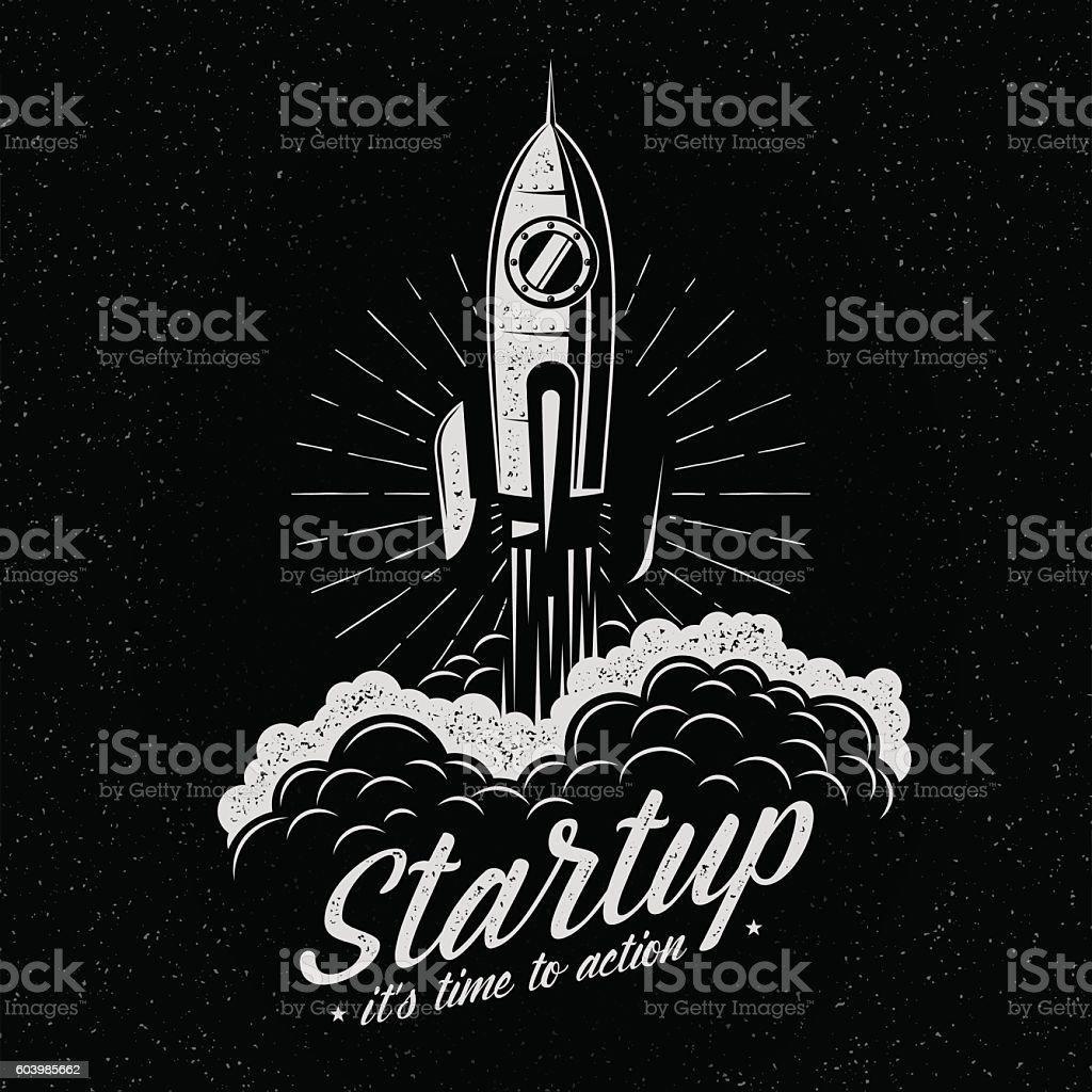 Rocket takes off vector art illustration