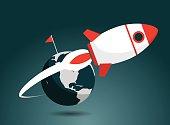Rocket, Taking Off, Emitting, Flying