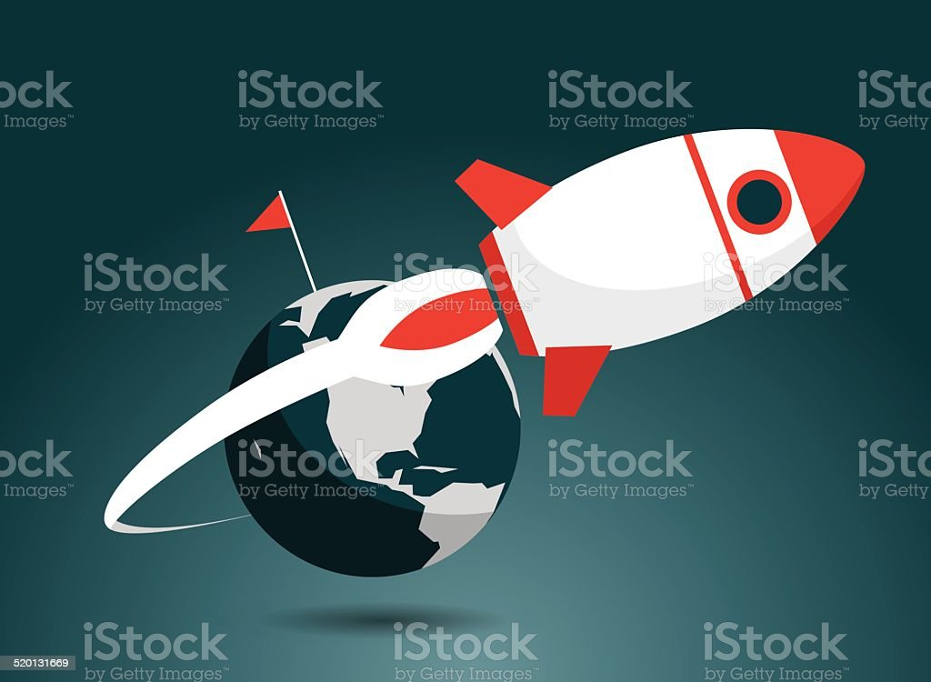 Rocket, Taking Off, Emitting, Flying vector art illustration