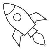 istock Rocket thin line icon, Coworking concept, Start up business sign on white background, Rocket launch icon in outline style for mobile concept and web design. Vector graphics. 1264399380