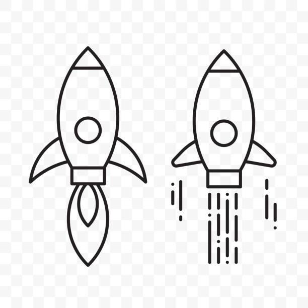 ilustrações, clipart, desenhos animados e ícones de foguete fina linha vetor projeto conjunto de ícones de arranque - foguete espacial