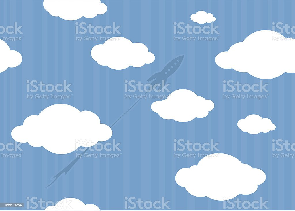 Rocket through the clouds (seamless) royalty-free stock vector art