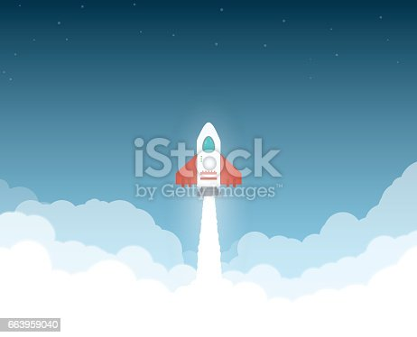 Launched rocket. Clouds and sky, stars. Rocket flying through clouds to space. White exhaust and glowing. New project or business breakthrough. Cartoon style flat vector illustration.