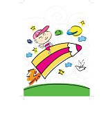 a boy sitting on a color pencil as a rocket flying on sky, illustration, imagination