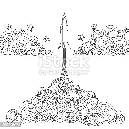 Line art design of a Rocket launching for design element and coloring book page. Vector illustration