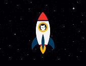 Rocket with cat astronaut on background stars sky. Rocket with a cat flies up. Cat with rocket in space. Eps10
