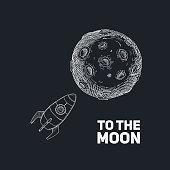 Rocket with Moon hand drawn on dark background. Vector