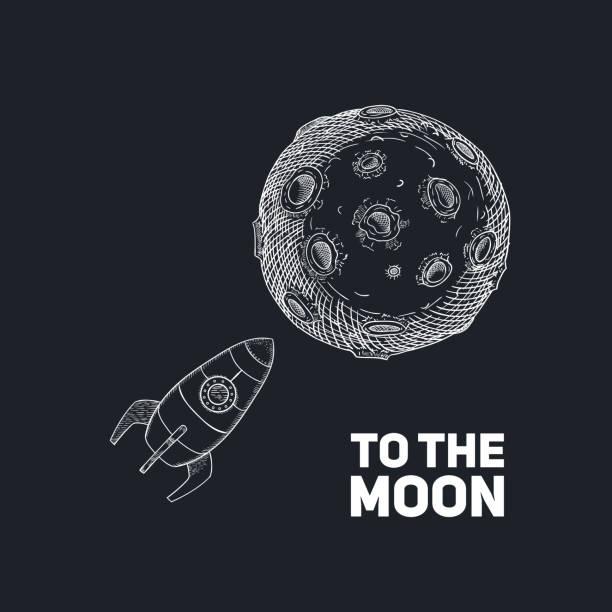 Rocket with Moon hand drawn on dark background. Vector vector art illustration