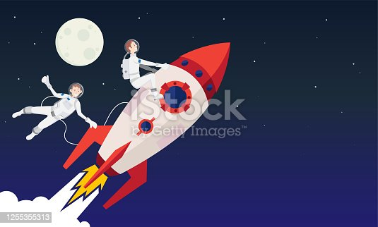 istock Rockets and astronauts in space 1255355313