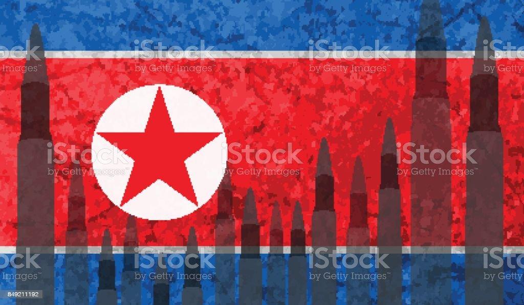 Rockets background North Korea flag vector art illustration
