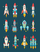 istock Rockets space set. Star ships modern various shapesfire escaping engine heavy asteroid rigs class star destroyer multistage cargo passenger stylish color computer game design. Cartoon space vector. 1254503622