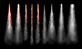 Rockets tracks. Space rocket launch smoke, plane jets track and aircraft smoke cloud. Aviation jet fly or spaceship sky air tracks steam. 3D realistic vector isolated sign set