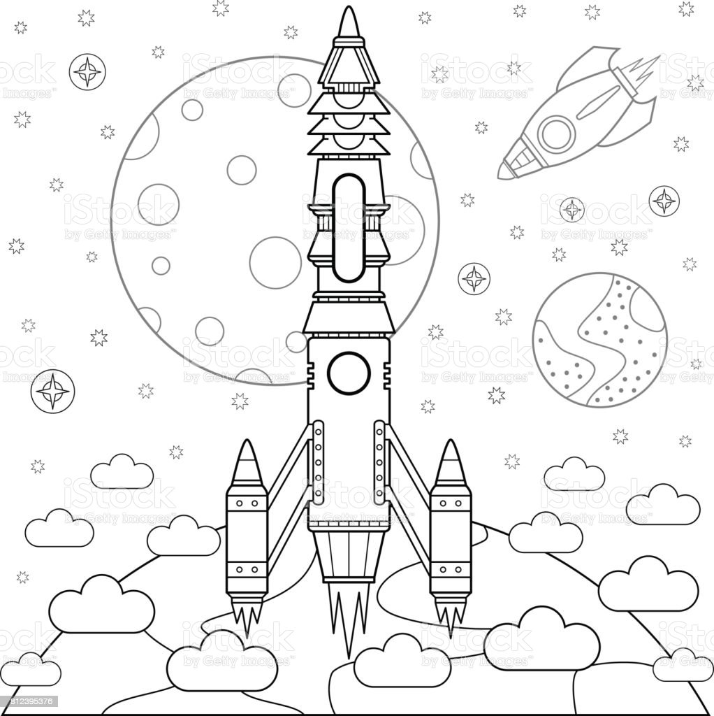rockets vector art illustration