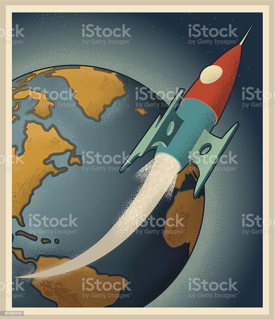 Rocketship con Tierra en fondo - ilustración de arte vectorial