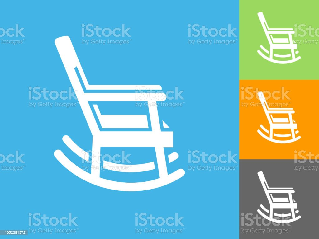 Rocking Chair Flat Icon On Blue Background Stock