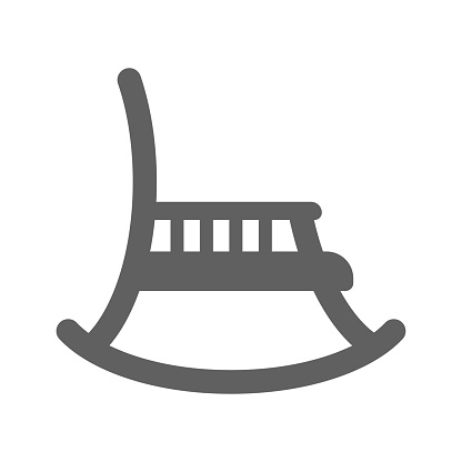 Rocking chair icon, furniture, vector graphics