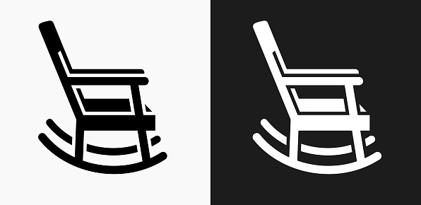 Rocking Chair Icon On Black And White Vector Backgrounds ...