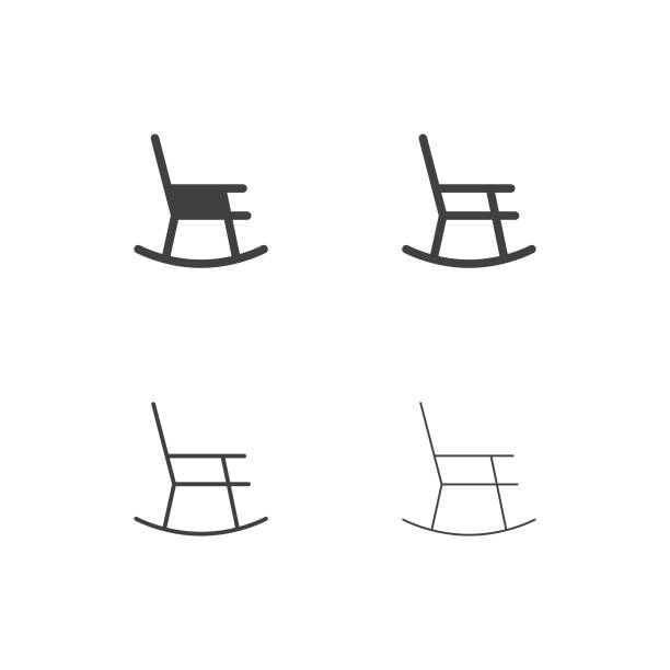 Rocking Chair Icons - Multi Series Rocking Chair Icons Multi Series Vector EPS File. front stoop stock illustrations