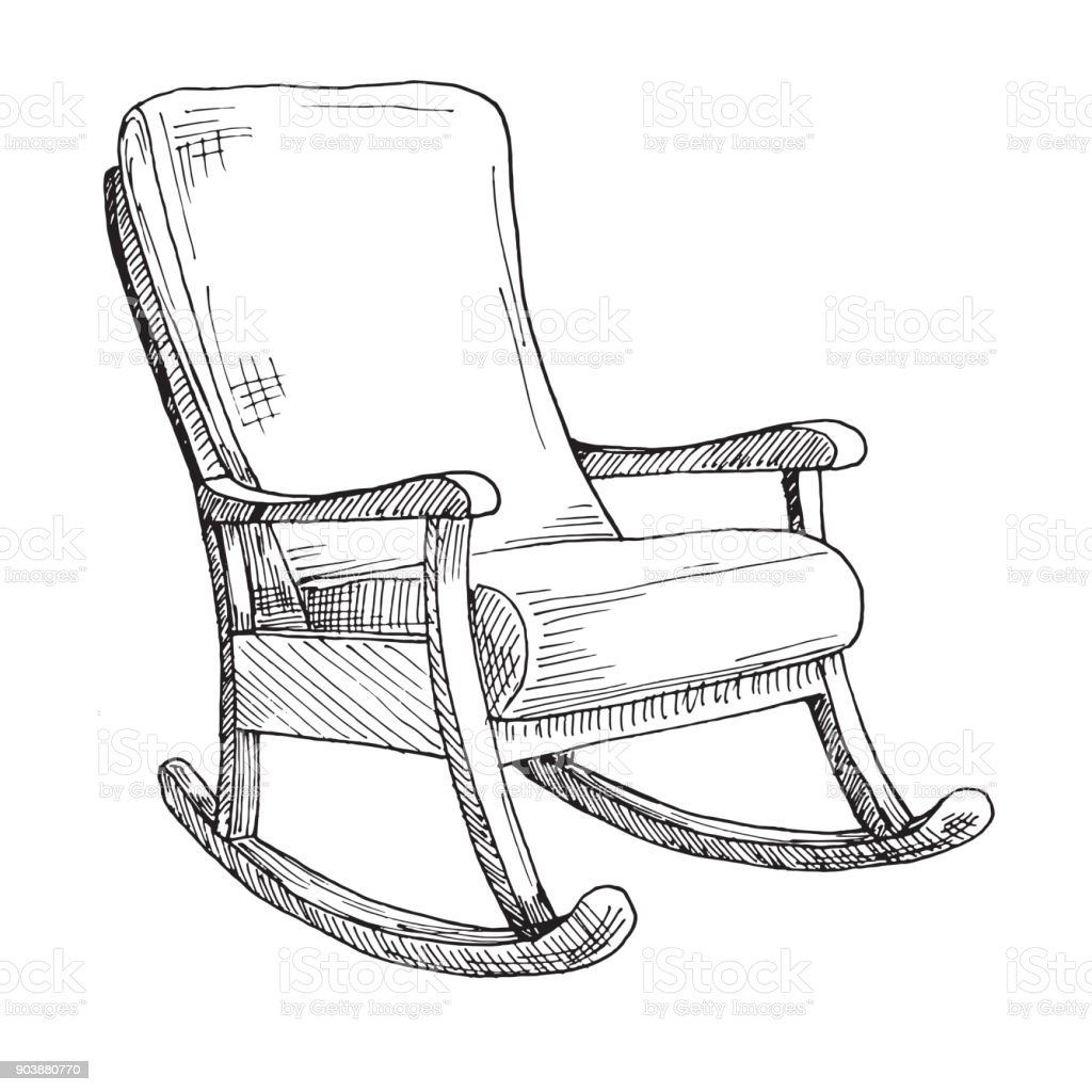 rocking chair drawing. Rocking Chair Isolated On White Background. Sketch A Comfortable Chair. Vector Illustration. Royalty Drawing