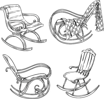 Rocking chairs. Hand drawn