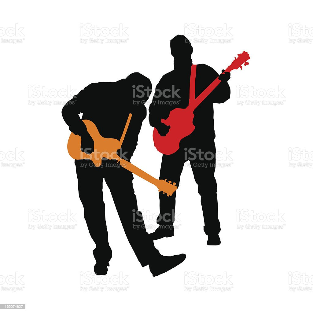 Rocking Guitar Bass Duo Silhouettes (vector illustrations) royalty-free stock vector art