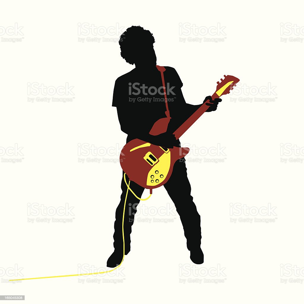 Rocking Guitarist Silhouette (vector illustration) royalty-free stock vector art