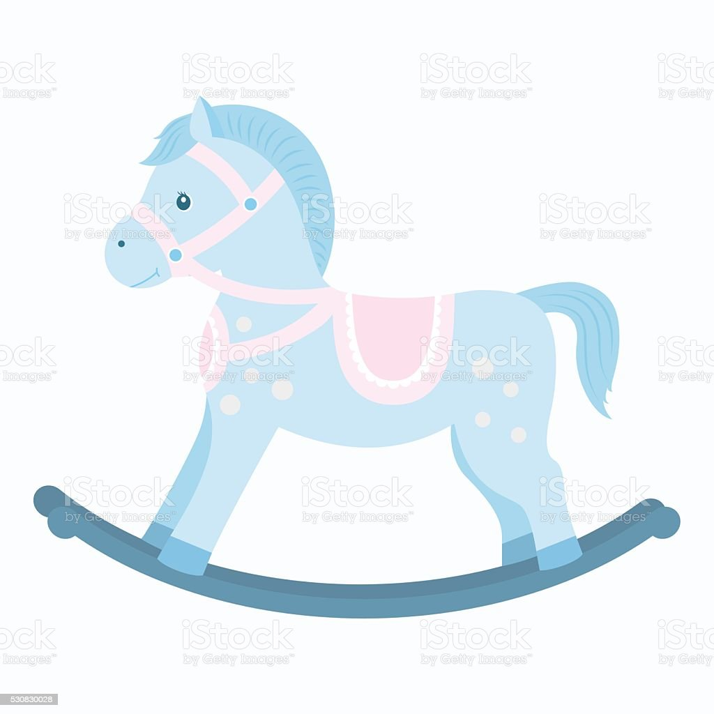Rocking Horse Blue Colorcartoon Style Stock Vector Art & More Images of Animal 530830028 | iStock