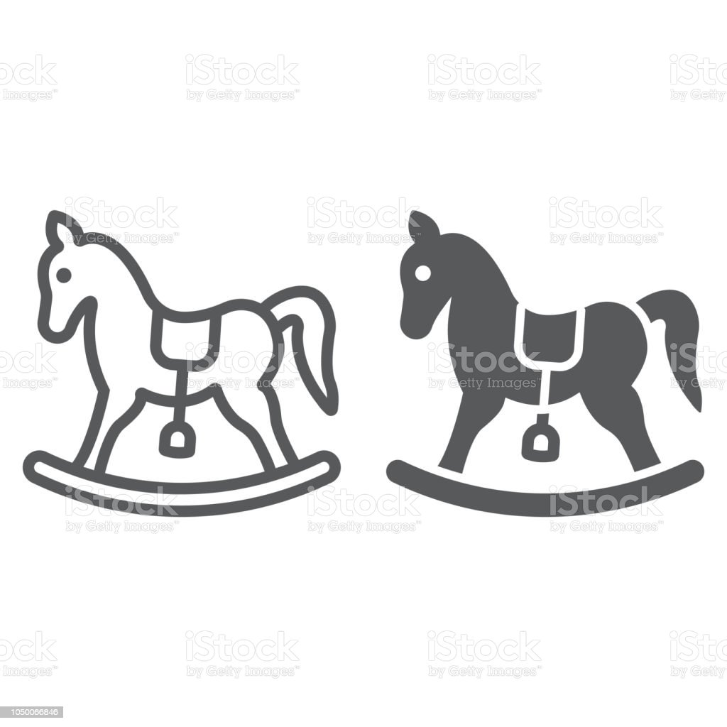 Rocking Horse Line And Glyph Icon Baby And Toy Pony Sign Vector Graphics A Linear Pattern On A White Background Stock Illustration Download Image Now Istock