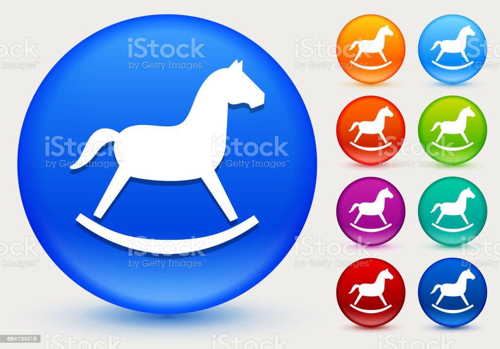 Rocking Horse Toy Icon on Shiny Color Circle Buttons rocking horse toy icon on shiny color circle buttons - immagini vettoriali stock e altre immagini di arancione royalty-free