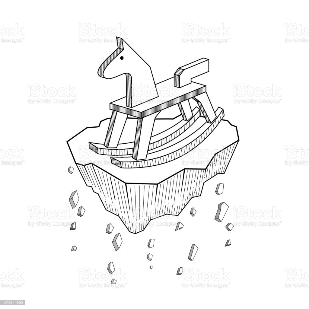 Rocking Horse Vector Sketch Isolated On Background Hand Drawn Rocking Horse Sketch For Tattoo Line Art Illustration And Vector Symbol Of Life It Short Happiness Is To Low Every Time Stock Illustration