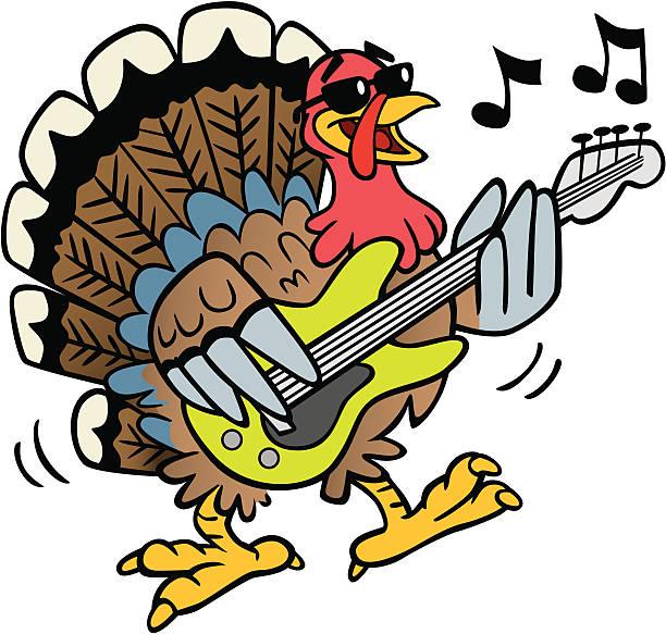 Rocking Turkey vector art illustration