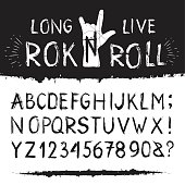 Rocknroll alphabet font. Set of letters and figures in black brush grunge style with long live rock motto for web and interior design. Vector flat style cartoon illustration