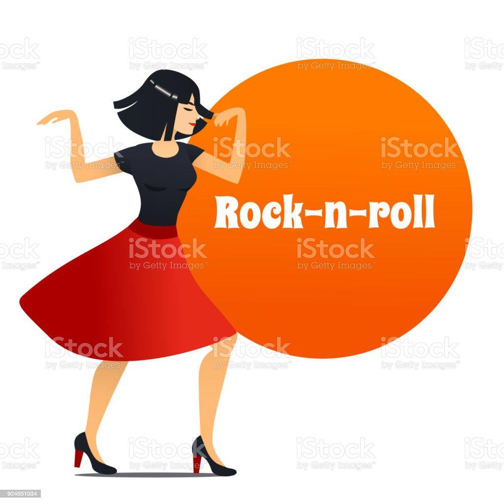 Ilustración De Bailarín De Rock N Roll En Estilo De Dibujos