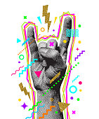 Rock'n'roll or Heavy Metal hand sign. Engraved style hand and multicolored abstract elements. Vector illustration.