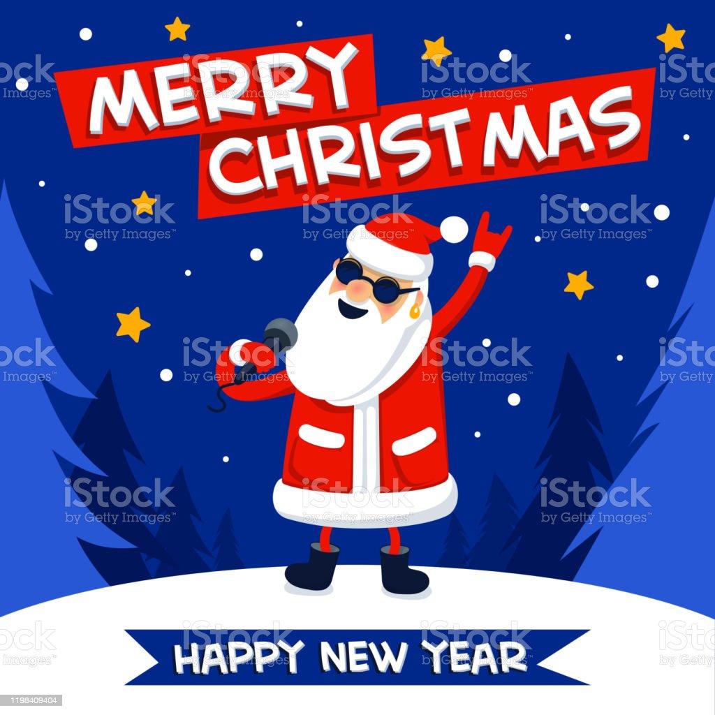 Rock-n-rulle Santa. Sjunger Santa Claus-rockstjärna med god jul på blå jul bakgrund. Christmas hipster affisch för fest. Xmas gratulationskort. Platt stil vektor illustration - Royaltyfri Affisch vektorgrafik