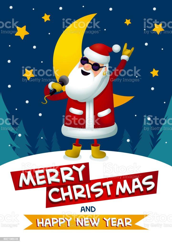 Rock N Roll Santa Singende Weihnachtsmann Rockstar Mit Frohe ...