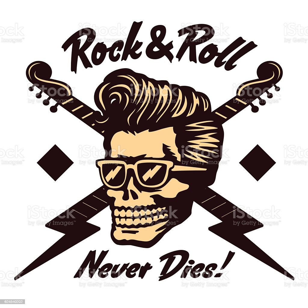 Rock'n'roll skull face with rockabilly pompadour haircut and sunglasses vector vector art illustration