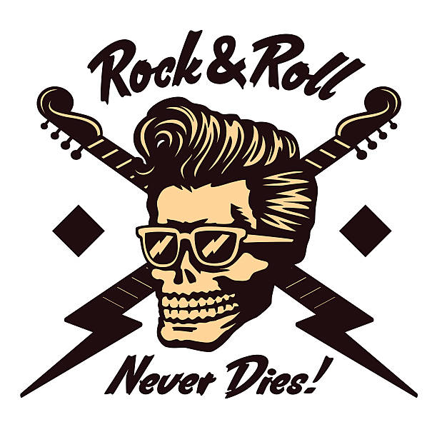 rock'n'roll skull face with rockabilly pompadour haircut and sunglasses vector - rockabilly stock-grafiken, -clipart, -cartoons und -symbole