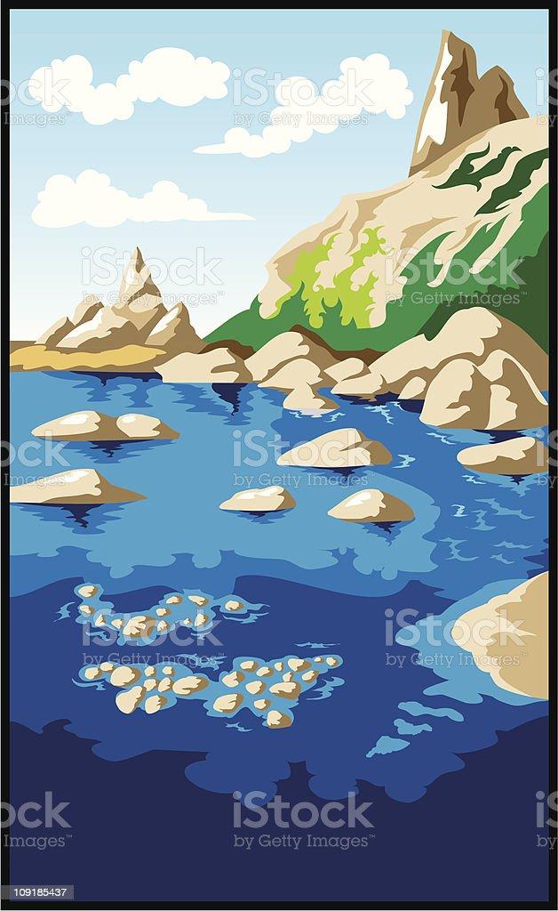 Rocks and sea vector art illustration
