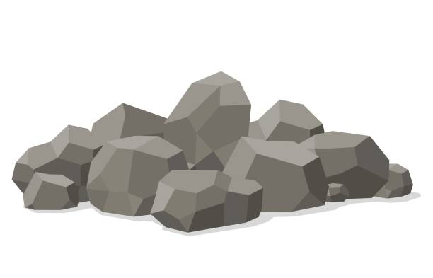 ilustrações de stock, clip art, desenhos animados e ícones de rocks and stones piled isolated on white background. stones and rocks in isometric 3d flat style. different boulders. vector illustration - penedo