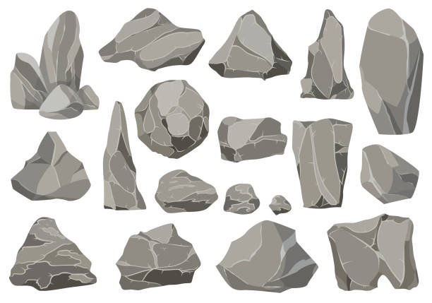 Rocks and stones single or piled for damage and rubble. Large and small stones. Set of flat design icons. Vector illustration for game art architecture design Rocks and stones single or piled for damage and rubble. Large and small stones. Set of flat design icons. Vector illustration for game art architecture design. cliffs stock illustrations