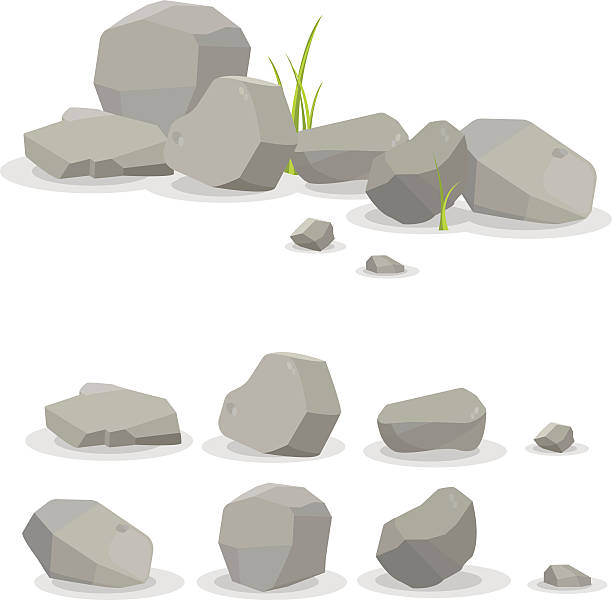 stockillustraties, clipart, cartoons en iconen met rocks and stones single or piled for damage and rubble - steen bouwmateriaal