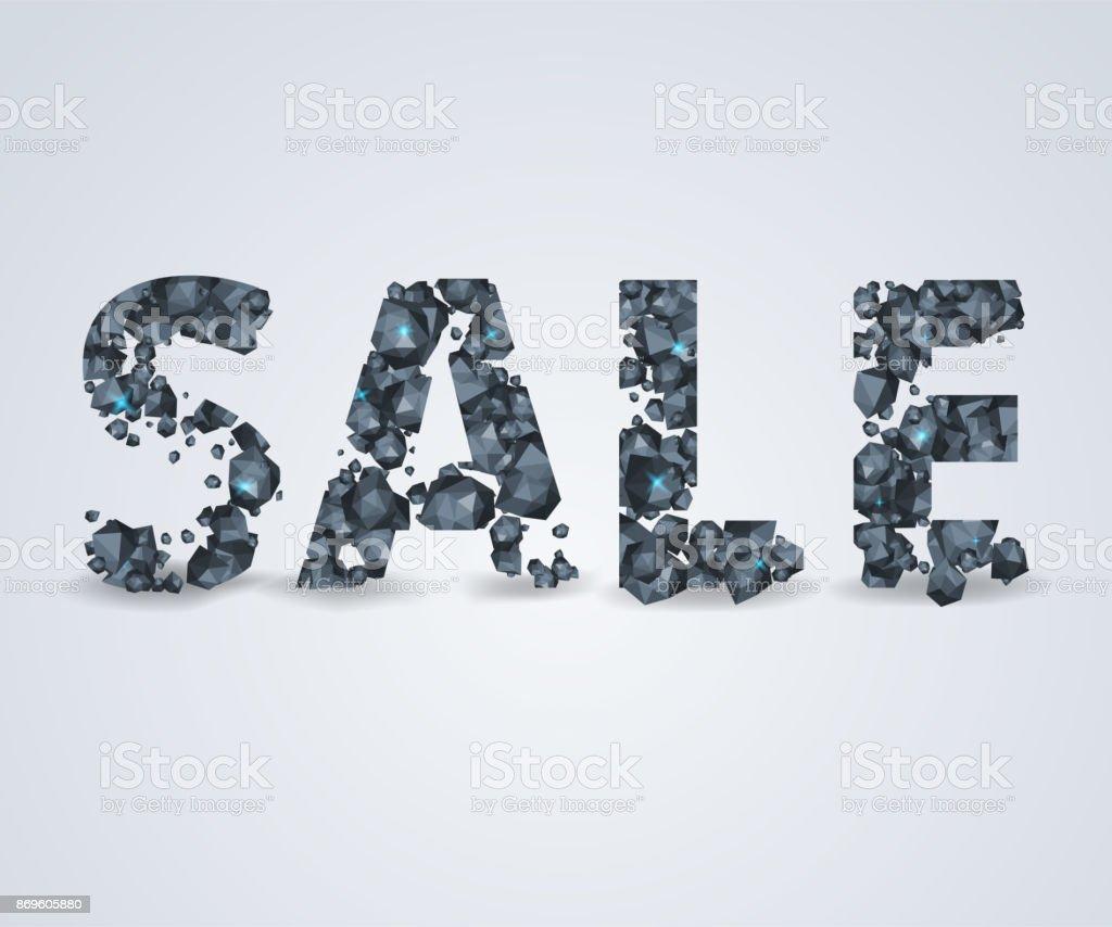 Rocks SALE on bright background for flyer, poster, shopping vector art illustration