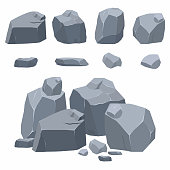Rocks, stones collection. Different boulders in isometric 3d flat style