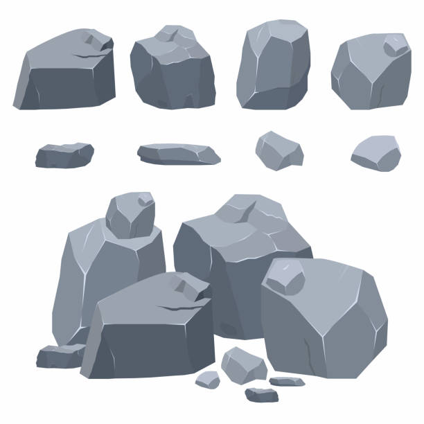 ilustrações de stock, clip art, desenhos animados e ícones de rocks, stones collection. different boulders in isometric 3d flat style - penedo